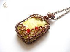 Citromjáspis - Copper Necklace, Jewelry, Pendant, Necklace, copper wire, 4 x 3 cm and 4 mm citromjáspisból made of carnelian beads Meda ... ...
