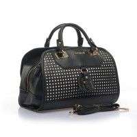 SY1479 Black - Sally Young Hollow Out Handbag with Belt Buckle Detail