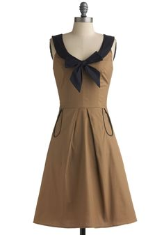 Rally the Loops Dress - Tan, Blue, Solid, Bows, Pleats, Pockets, Trim, Party, Casual, Nautical, Vintage Inspired, A-line, Tank top (2 thick straps), Spring, Summer, Long, Military