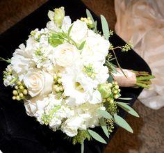 White Roses, Vandella Rose, White Lizzianthus, Seeded Euc. White Stock, Cream Hyperuium