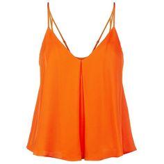 Rebecca Minkoff Blanche Flared Silk Top (£115) ❤ liked on Polyvore featuring tops, silk top, rebecca minkoff, rebecca minkoff top, orange top and flare tops