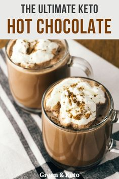 Thick and creamy keto hot chocolate is the perfect low-carb drink recipe to make on a chilly day. It's sugar-free, gluten-free and an easy to make keto dessert. Recipe includes stovetop and microwave directions. This was delicious! Low Carb Drinks, Low Carb Desserts, Healthy Drinks, Low Carb Recipes, Dessert Recipes, Drink Recipes, Healthy Food, Nutrition Drinks, Dinner Recipes
