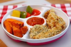Weekly recipe ideas for your 11-month-old baby including homemade chicken dippers, homemade breadsticks and hummus, vegetarian lasagne, easy curry and more