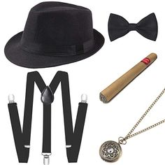 Coucoland Gatsby Costume for Men Accesories Set (Panama Hat Gray The Great Gatsby, Great Gatsby Men Outfit, Gatsby Outfit, Gatsby Hat, Mens Gatsby Costume, Flapper Costume, Costume Hats, Cosplay Costumes, Flapper Accessories