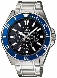 Men's Stainless Steel Duro Quartz Diver Black Dial Day Date Blue Bezel Casio. $66.93. 44mm Case Diameter. Mineral Crystal. Quartz Movement. 200 Meters / 656 Feet / 20 ATM Water Resistant
