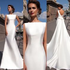 the most graceful simple wedding dresses with sleeves page 28 Simple Wedding Dress With Sleeves, Plain Wedding Dress, Elegant Wedding Dress, Dream Wedding Dresses, One Shoulder Wedding Dress, Wedding Gowns, Dresses With Sleeves, Bridal Outfits, Bridal Dresses
