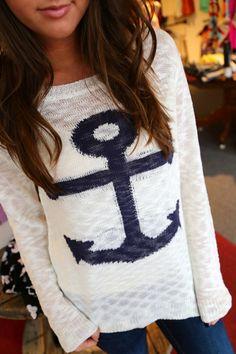 Sea Side Anchor Knit. Adorable