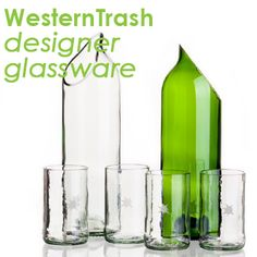 See the creations from Krzysztof Zielinski of WesternTrash, crafting designer lighting & glassware products from trash!