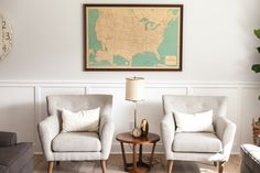 Mid century style seating with vintage USA map - as featured on 'Rafterhouse' pilot episode on HGTV.