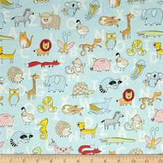 Animal ABCs Toile Organic Cotton Light Blue from @fabricdotcom  Designed by Alyssa Thomas of Penguin and Fish for Clothworks Textiles, this GOTS certified organic cotton print fabric is perfect for quilting, apparel and home decor accents. Colors include black, red, orange, green, cream, pink, white, shades of blue, and shades of yellow.