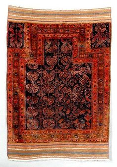 This is a connected hexagon Baluch prayer rug. It was woven about 1860 in Afghaistan and is in very good condition. The size is about 4x5 and the dyes are all vegetal. It is one of the best of this type I have had the pleasure to sell. Your price is only $6500