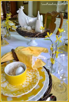 Corner of Plaid and Paisley: Spring Chicken Tablescape
