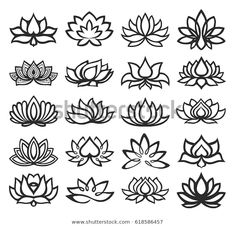 Find Vector Set Lotus Icons stock images in HD and millions of other royalty-free stock photos, illustrations and vectors in the Shutterstock collection. Thousands of new, high-quality pictures added every day. Stencils Tatuagem, Tattoo Stencils, Tatuagem Triskele, Mini Tattoos, Small Tattoos, Finger Tattoos, Body Art Tattoos, Mehndi Designs, Tattoo Designs