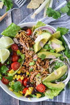 This Loaded Taco Salad is loaded with goodness in every bite and topped with the most addictive and easy Salsa Ranch Dressing!