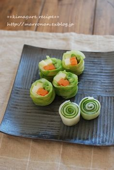Vegetable Rolls for Japanese Appetizer (Daikon White Radish and Cucumber, Cabbage with Carrot, Potato and Snow Pea Inside)|野菜巻き