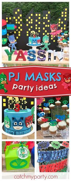 Check out this awesome PJ Masks birthday party! The dessert table is fantastic!! See more party ideas and share yours at CatchMyParty.com #catchmyparty #partyideas #pjmasksbirthdayparty