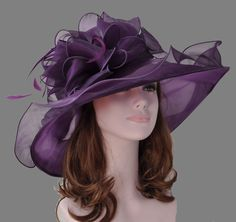 New Church Kentucky Derby Wedding Organza Wide Brim Dress Hat Purple Color 449eb8c3e8ba