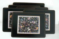 Vintage Pimpernel Placemats  Set of 6 Black by SpringRainVintage