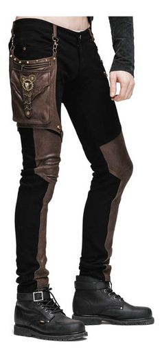 Devil Fashion Casual Pants for Men Punk Patchwork Straight Trousers with Pocket Steampunk Pants, Steampunk Gears, Steampunk Cosplay, Brown Pants, British Style, British Fashion, Festival Outfits, Casual Pants, Leather Pants