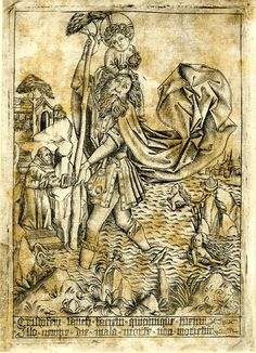 Master ES (After); Israhel van Meckenem (Print made by); St Christopher; the saints carries the Child, who is holding the orb, through the river 1465-1500