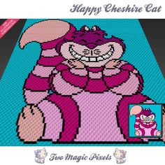 Happy Chesire Cat crochet blanket pattern; knitting, cross stitch graph; pdf download; no written counts or row-by-row instructions by TwoMagicPixels, $3.79 USD