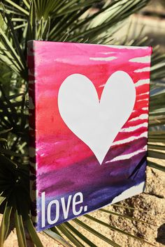 DIY Melted Crayon 'Love' Art