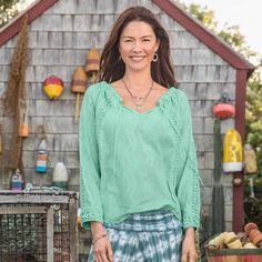 """BEAUFORT BREEZE TOP--Inset lace and tonal dobby patterning ripple over breezy cotton in this easy-fitting peasant top. Wear on or off shoulder with adjustable elastic and drawstring neckline. Machine wash. Imported. Exclusive. Sizes XS (2), S (4 to 6), M (8 to 10), L (12 to 14), XL (16). Approx. 26-1/2""""L."""