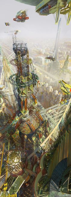 A concept/illustration of the Weyland Corporation's construction efforts in South Korea, created for the Netrunner universe. (C) Fantasy Flight Games. Fantasy Places, Sci Fi Fantasy, Fantasy World, Futuristic City, Futuristic Architecture, Sci Fi City, Inspiration Artistique, Gaia, Sci Fi Environment