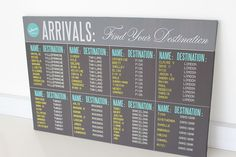 Travel inspired Arrivals board seating plan by www.secretdiary.co.za