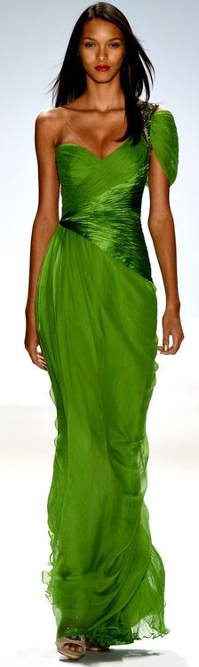 EMERALD GREEN ONE SHOULDER SLEEVE, V'D WAIST IN COMPLIMENTING SATIN....GOWN IN DELICATE CHIFFON