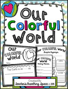 """Earth Day Book --- """"Our Colorful World"""" --- Earth Day Poem Writing. This set includes an awesome Earth Day book project, as well as three graphic organizers to help us with our pre-writing."""