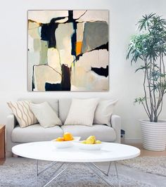"LARGE GICLEE PRINT, Abstract Painting, modern Fine Art Print, Wall Art, black, grey, white, from original contemporary painting ""Lacuna"""