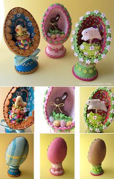 Swirly Designs by Lianne & Paul: Seasonal How-to: Easter Egg Dioramas Easter Projects, Clay Projects, Diy Craft Projects, Craft Ideas, Sugar Eggs For Easter, Easter Eggs, Easter Bunny, Polymer Clay Creations, Polymer Clay Crafts
