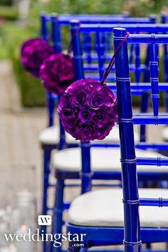 Floral Pomanders {garden wedding, aisle decorations, #purple, wedding decorations, theme}