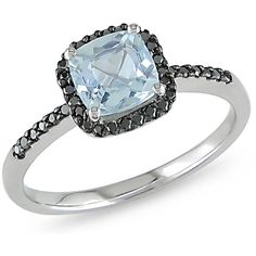 4/5 CT Aquamarine and 1/7 CT Black Diamond 10K White Gold Ring