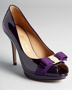 Salvatore Ferragamo Pumps - Talia High Heel Peep Toe Platform - Mirtillo Purple