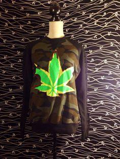 marijuana sweater weed womens medium rasta army - USA Free Shipping
