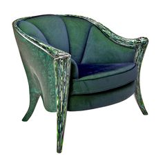 """Structure made of wood. Outside part covered with real Malachite stone. Legs lacquered with """"CrazyGlass"""" finishing. Cushion and seat covered with a velvet fabric."""