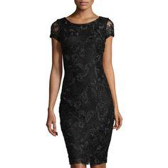 77779c392d Alexia Admor Lace Short-Sleeve Sheath Dress Lace Shorts, Sheath Dress,  Dress Black