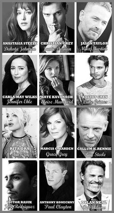 A collage with photos of the actors and actresses who will be portraying the characters in Fifty Shades of Grey the Movie. Will they live up to the characters from the book??? We will soon find out!