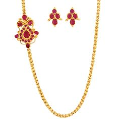 SthriElite Fashionable Gold Plated Ruby Stone Mope Chain MOP-CHN-009-110