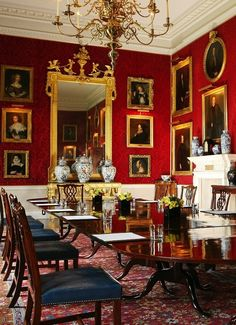 Althorp House Great Dining Room, Northamptonshire, England, UK. The Great Dining Room is situated in the east wing extension of the house and was added in 1877 during the time of the Red Earl. It was inspired by the ballroom of Buckingham Palace, with walls hung with faded, red damask silk. || http://en.wikipedia.org/wiki/Althorp