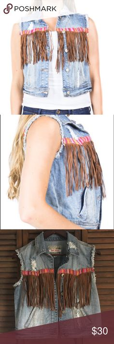 SUMMER FEST. 🎡 Hot Kiss Denim Fringe Vest EUC 🚫 no trades 🚫 EUC. Size M. Worn once for a couple hours. Denim Fringe Vest. Super cute! Distressed look. Perfect for summer music festivals over a bralette or bikini top! No stains! OFFERS ARE WELCOMED 😊💕 Hot Kiss Tops