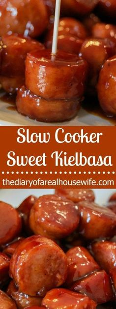 Easy slow cooker sweet kielbasa. We loved this so much last week that I will be adding it to my slow cooker again for game day!