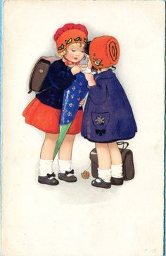 Fritz Baumgarten - Vintage Postcard Children's First Day of School Cones