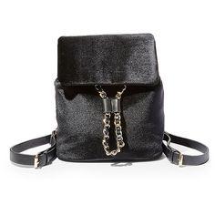 Steve Madden Women's Bcharter Handbag Backpack ($78) ❤ liked on Polyvore featuring bags, backpacks, black, drawstring bag, velvet bag, drawstring backpack bag, mini rucksack and mini bags