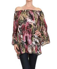 This Black & Olive Feather Off-Shoulder Tunic - Women by Karen T. Design is perfect! #zulilyfinds