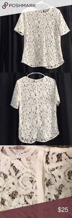 Ann Taylor LOFT Floral Lace Shirt Super soft. Would look cute with any color tank underneath. Worn once; in excellent condition LOFT Tops Blouses