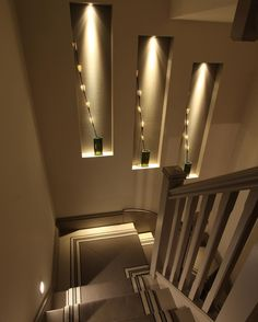 'A great effect with plenty of impact would be to create a niche or series of niches as shown here. These can be lit with miniature 1w Luccini to add drama. Combine these with 1w Oslo steplights for the perfect layered scheme' - Follow us throughout the week for more of Senior Designer Sian Parsons top staircase lighting tips. #staircaselighting #lightingtips #homelighting #lightinginspiration #staircasedesign #halldesign #halllighting #instahome #homeinspiration #interiorlighting…