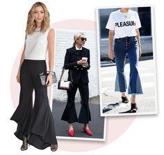 Tendência street style: calça flare cropped! Vale apostar na calça com slippers, com tênis ou salto trazendo sensualidade e também alongando as produções!